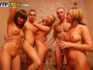 Deep group pounding of hot student girls