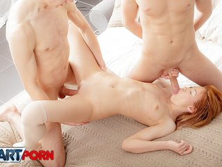 Free porn action with foxy pleasing two big dicks
