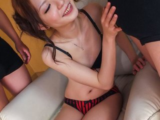 Aya Eikura in sexy lingerie licks two dongs and..