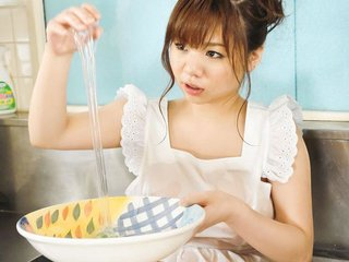 Aoi Mizumori in the kitchen cooking up some..
