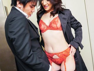Marina Matsumoto plays with her boobs while..