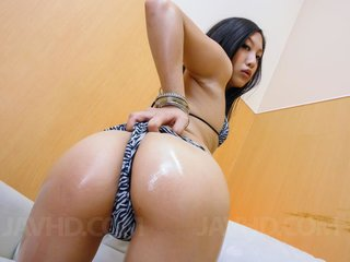 Maki Takei Asian with oiled ass cheeks satisfies..