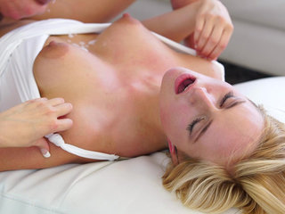 Cum hungry blonde Kate England uses her big..