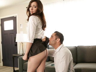 Bad girl Ember Stone gets caught with no panties..