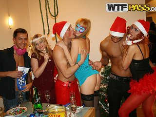 Young hot students in costumes Christmas fuck